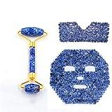 Blue Dot Jade Rollenmassagegerät, Handgewebte Lapislazuli-Augenlider Und Lapislazuli-Gesichtsmaske,...