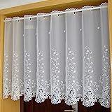Yujiao Mao 1er Pack Halbtransparent Besticke Weiß Blumen Scheibengardine Küchen Vorhang Tür...