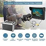 Unterwasservideo, 4,3 Zoll Farbmonitor Unterwasserfischen-Videokamera-Kit mit 8 Stück...