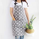 Lindong Sterne Schrze mit Tasche Baumwolle Leinen Damen Kchenschrze Latzschrze Kochschrze zum Kochen...