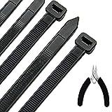 Kabelbinder 100 Stück 300 mm x 7,6 mm, UV-Beständig ultra starke Kabelbinder mit 50 kg...