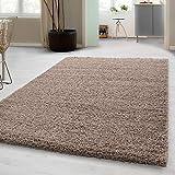 Carpetsale24 Hochflor Shaggy Teppich für Wohnzimmer Langflor Pflegeleicht Schadsstof geprüft 3 cm...