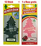 Wunderbaum 12 Stück Frühling Wunder-Baum Lufterfrischer Duftbaum + 1 Stück Rose...