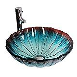 WINZSC Kunstwaschbecken über Aufsatzwaschbecken rundes Glaswaschbecken Persönlichkeit auf dem...