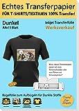 TransOurDream ECHTE Inkjet Transferfolie Transferpapier,Bügelfolie für Dunkle Textilien,DIN A4X15...