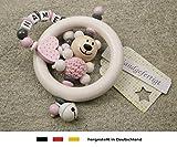 Baby Greifling Rassel Beiring mit Namen - individuelles Holz Lernspielzeug als Geschenk zur Geburt...
