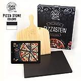 DOLCE MARE Pizzastein Schwarz - Pizza Stein aus hochwertigem Cordierit fr den Backofen & Grill -...