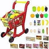 Einkaufswagen Kinder Spielzeug für Einkaufs 27 Stück Kaufladen Zubehör Set mit Spielobst und...