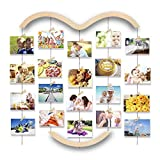 Uping Bilderrahmen Collagen, Fotowand Collage mit 30 Holzklammern und 5 Hanfseil Holzbildfoto Rahmen...