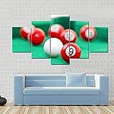 104Tdfc Puzzle 5 teilig Bilder wandbild 200x100CM Cadeau Snooker-Kugeln auf grünem Snooker-Tisch...
