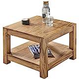 FineBuy Couchtisch Massiv-Holz Akazie 60 x 60 cm Wohnzimmer-Tisch Design dunkel-braun Landhaus-Stil...