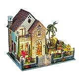 Holzblock DIY hölzerne Puppe-Haus Handgefertigte Miniatur Suite Romantische Villa Modell mit...