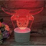 3D Acryl Bull Head Horn Horn Bluetooth Basis Touch Control Home Dekoration Led Nachtlicht