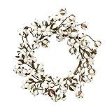 SUREH 30,5 cm echte Baumwolle Kranz Dekoration Bauernhaus Natur Weiß Baumwolle Blumen Bolls...