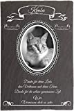 Pokal Center Westerheider Tiergrabstein Katzen mit Foto im Retrorahmen, Gedenksteine für Katzen mit...