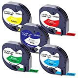 UniPlus 5x Kompatibel Etikettenband als Ersatz für Dymo Letratag Etikettenband 91201 92221 91202...