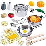 JOYIN Küchenspielzeug Küche Pretend Spielzeug mit Edelstahl Kochgeschirr Töpfe und Pfannen Set,...
