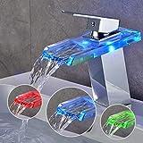BONADE LED Wasserhahn bad Waschbecken mit RGB 3 Farbewechsel Beleuchtung Wasserfall Auslauf...