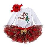 Neugeborenes Baby Mädchen Weihnachtsoutfit Mein erstes Weihnachten Bekleidungsset Baumwolle Langarm...