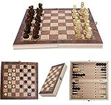 Souarts 3 in 1 Schachspiel Checkers Backgammon Holz Schach Einklappbar Schachbrett Set für Kinder...