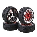 BQLZR RC 1:10 On-Road-Rennwagen Y-Form Red Plating Wheel Felge & Reifen 4er Pack