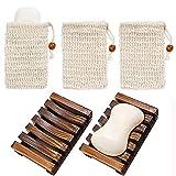 Chefic 2 Stück Seifenschale Holz Dusche mit 3 Stück Seifensäckchen, Handarbeit Seifenhalter...