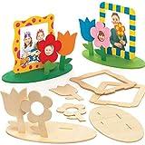 """Baker Ross Bilderrahmen-Bastelsets """"Blumengarten"""" aus Holz (4 Stück) – für Kinder zum..."""