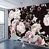 Zmdmg Benutzerdefinierte 3D-Fototapete Wandgemlde Handgemalt Schwarz Wei Rose Pfingstrose Blume...