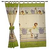 TupTam Kinderzimmer Vorhäng mit Schleifen 2er Set, Farbe: Imagine Grün, Größe: ca. 155x95 cm