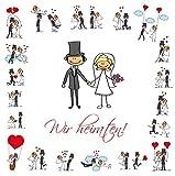 Lustige Einladungen zur Hochzeit, bestehend aus je 10 St. Hochzeitseinladungen + 10 passenden...