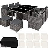 TecTake 403086 Aluminium Poly Rattan Sitzgruppe 6+1+4, klappbar, für bis zu 10 Personen, inkl....