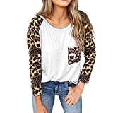 SHOBDW Pullover Damen Lang Große Größen Basic Shirt für Damen Langärmig mit Leopard Muster...