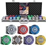 Bullets Playing Cards - Großer Pokerkoffer Tony Deluxe Pokerset mit 500 Clay Pokerchips,...
