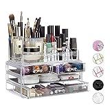 Relaxdays Make Up Organizer Acryl, 2-teilige Schminkaufbewahrung mit Lippenstifthalter und 4...