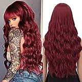 YEESHEDO Damen Perücke Rot mit Pony Lang Wellig Lockige Natürlich Farbe lange locken Volles Haare...