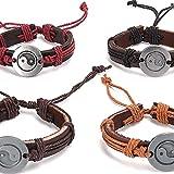chaosong shop Wickelarmband aus PU-Leder, handgewebt, erste Schicht aus Rindsleder und Legierung,...