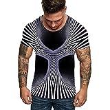 EUZeo Paar 3D Blumendruck T-Shirt Herren Rundhals Gitter Mode Persönlichkeit Tee Sport, Beiläufige...