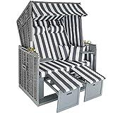 tectake 800805 Strandkorb Ostsee 2-Sitzer, 4-Fach verstellbare Rückenlehne, Volllieger mit...