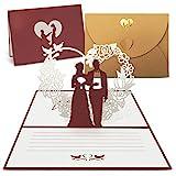 int!rend Pop Up Hochzeitskarte, Glückwunschkarte mit hochwertigem goldfarbenen Umschlag,...