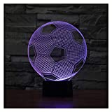 lunaoo Nachtlicht Kinder Nachttischlampe LED 3D Lampe Fussballlampe, Stimmungslicht 7 Farben ändern...
