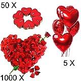 Jonami Romantische Kerzen Rote Teelichter und Rosenblätter, Romantisch Deko Set,50 Teelichter...