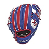 Wilson Unisex-Youth A0200 10' MLB Batter BBG Baseball/Softball Gloves, ROYAL/RED/White