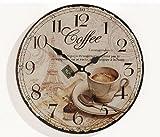 levandeo Wanduhr Holz MDF - Motiv: Coffee Kaffee Cafe Espresso Cappuccino - Küchenuhr Holzuhr Uhr...