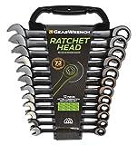 GearWrench 9412BE Ringmaulschlüssel mit Ratsche Set Metrisch, Schwarz, 8 - 19 mm, 12 Stück...