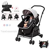 LYXCM Babywippen Schaukeln, 3 in 1 Baby Schaukelstuhl Kinderwagen Tragbare Falten Babybett Baby...