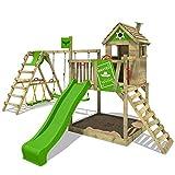FATMOOSE Stelzenhaus RockyRanch Roll XXL Kletterturm mit schwingendem Surfbrett Spielturm Spielhaus...