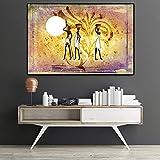 Afrikanische Figur Blume Gold Landschaft lgemlde auf Leinwand Poster und Drucke Kunst Wandbild...