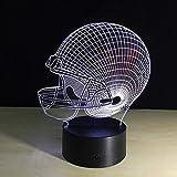 Nachtlichter American Football Helm Lampe 3D Nachtlicht Schlafzimmer Dekor 7 Farben Sport Nachtlicht...