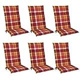Beautissu 6er Set Sunny RO Hochlehner Auflagen Set für Gartenstühle 120x50 cm in Rot Kariert -...