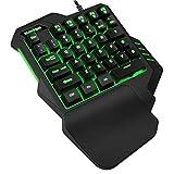 TesHIUCK Einhändige Gaming-Tastatur, RGB-LED, Hintergrundbeleuchtung, USB-Kabel, kabelgebunden, mit...